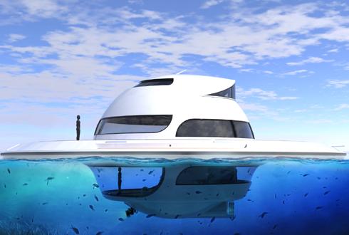 비행접시 모양 바다 위 호화 주택