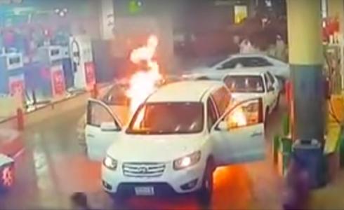 주유소에 차량 화재 발생, 대폭발 위기