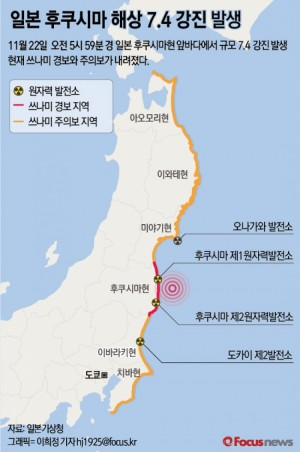 일본 후쿠시마현 규모 7.4 강진…부상·화재 등 잇따라 - 포커스뉴스 제공