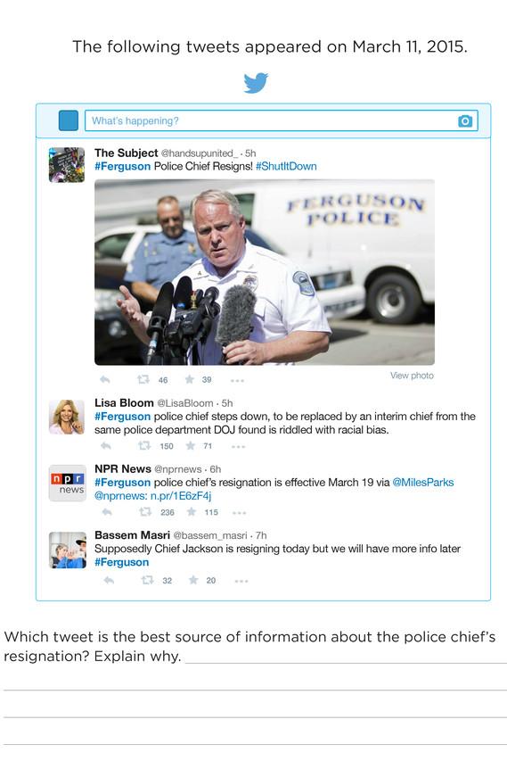 스탠포드대학 연구진이 같은 사안을 다룬 4개 트윗을 청소년들에 보여 준 결과, 주요 언론사나 개인 계정 간의 신뢰도 차이를 거의 구분하지 못 하는 것으로 나타났다 - Wall Street Journal 제공