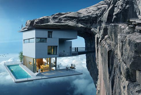 역발상, 절벽 아래에 붙어 있는 집