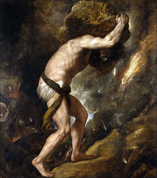 시지프스(Sisyphus). 알베르 카뮈는 시지프스적인 인간만이 부조리한 삶 속에서, 운명을 신에 의해 결정된 것이 아니라 자신의 것으로 만들 수 있다고 하였다. 이를 부조리한 세상이 인간에게 주는 선물, 즉 부조리의 역설이라고 한다. - Titian (1490-1576) 제공