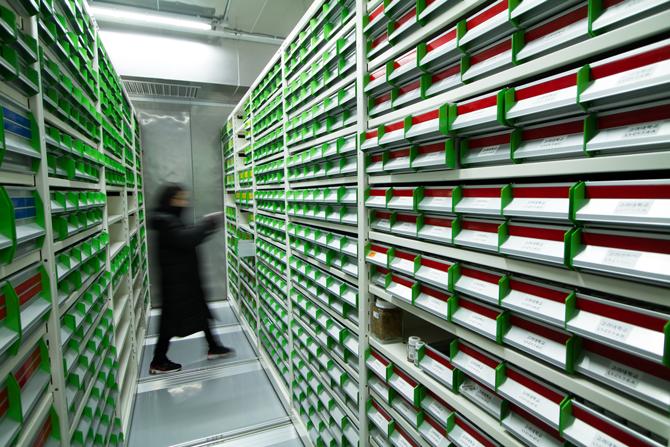 도서관 형태의 종자장기저장고 내부. 1년 365일 영하 20℃와 습도 40%를 유지한다. - 현진, 국립백두대간수목원 시설과 제공