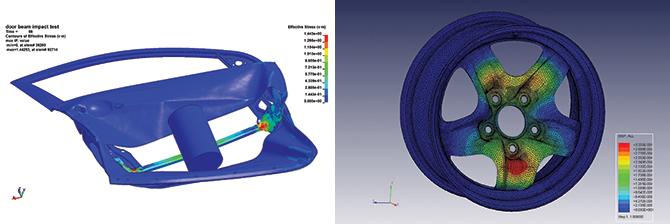 자동차 부품을 제조하는 기업체의 의뢰를 받아 측면에서 충돌했을때 부품이 받는 충격을 시뮬레이션 한 모습(왼쪽). 자동차 충돌 시험은 1회에 수천만 원 이상의 비용이 들기 때문에 사전 시뮬레이션이 중요하다. 오른쪽은 자동차 구동축이 휠을 누를 때 받는 힘과 휘어지는 정도를 나타낸 시뮬레이션이다. - KISTI 가상설계센터 제공