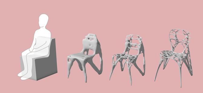 의자를 위상최적화하면 가장 오른쪽에 있는 모습이 된다. 미래의 카페는 이런 의자로 가득 차 있을지도 모른다. - Marco Hemmerling 제공