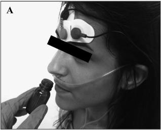 냄새 평가 장면. 피험자들은 냄새 시료에 대한 정보 유무에 따라 두 차례에 걸쳐 각각 여섯 가지 냄새를 맡고 평가를 한다. 이때 생리적 변화도 동시에 측정된다. - 화학적 감각 제공