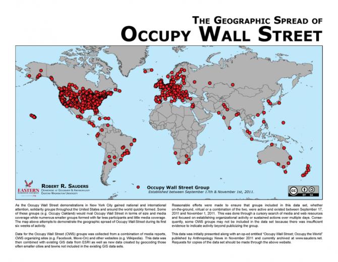 """""""월가를 점령하라"""" 시위는 SNS 등을 통해서 확산되었고, 이는 곧 전세계로 퍼져서 약 1500개의 도시에서 동조 시위가 진행되었다. 누적된 불만이 사회적 공감을 얻는 순간, 큰 폭발력을 보이게 된다. - Rsauders 제공"""