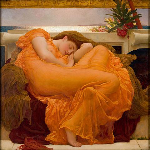 수면의 과학에 많은 진전이 있었음에도 잠은 여전히 미스터리한 현상이다. 영국 화가 프레데릭 레이튼의 1895년 작 '타오르는 6월'. - 위키피디아 제공