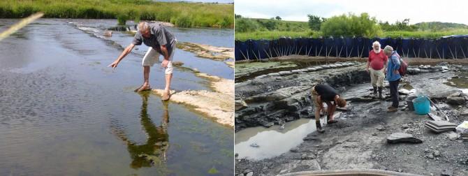 연구팀은 스코틀랜드 곳곳을 누비며 초기 사지동물의 화석을 채집했다. - 케임브리지대 제공