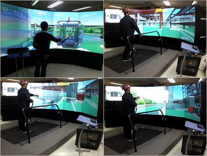VR 시뮬레이터를 이용한 화학 플랜트의 사고 상황 대처 훈련 장면 - 한국기계연구원 제공