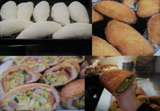 이곳의 인기 메뉴, 이탈리안 고로케가 만들어지는 과정. 반을 잘랐는데도 어른 손 크기만 하다. - 고기은 제공