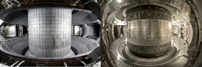 한국의 핵융합 실험로 케이스타(왼쪽)과 중국의 이스트(오른쪽)의 진공용기 내부 모습. - 국가핵융합연구소, 중국과학원 제공