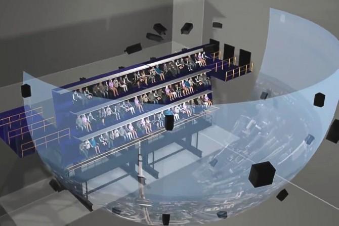 플라이벤처 상영관에는 폭 20m, 높이 12m 스크린이 설치돼 있다. 시야 전체가 영상으로 꽉 차 공중에 붕 떠있는 느낌이 든다. - 롯데월드 제공