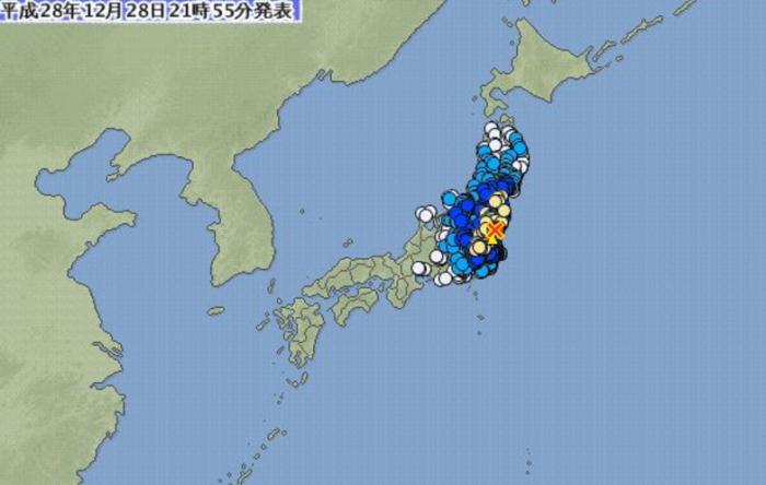 일본 기상청에 따르면 28일 오후 9시38분께 이바라키현 북부에서 규모 6.3에 달하는 지진이 발생했다. - 일본 기상청 제공