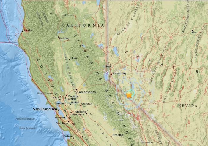 28일 오전 12시 18분쯤 미국 네바다 주에서 규모 5.7의 지진이 발생했다. - 미국 지질조사국(USGS) 제공