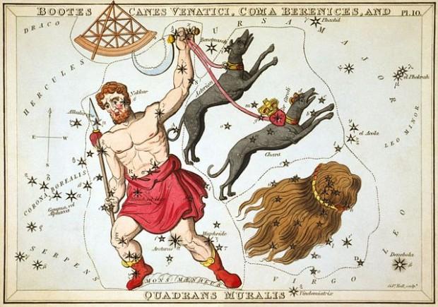 1825년 출간된 별자리지도에 나타난 사분의자리 (왼쪽 위)  - Wikipedia 제공