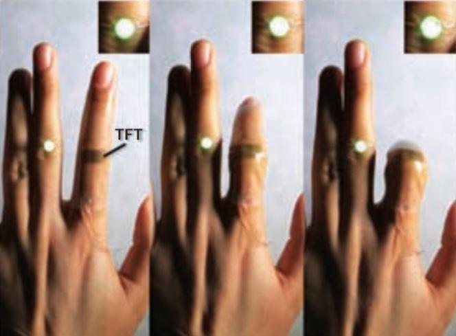 저난 바오 미국 스탠퍼드대 교수팀이 개발한 투명 박막트랜지스터(TFT)의 성능시험 장면. 이 TFT는 신축성이 뛰어나고 길게 늘어나도 전기전도도에 변화가 거의 없다. 신축성 TFT를 관절에 붙인 채 손가락을 움직여도 연결된 LED 전구의 불빛은 여전히 밝은 것을 볼 수 있다. - 사이언스 제공