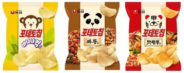 농심이 출시한 다양한 혼종 포테토칩 제품들