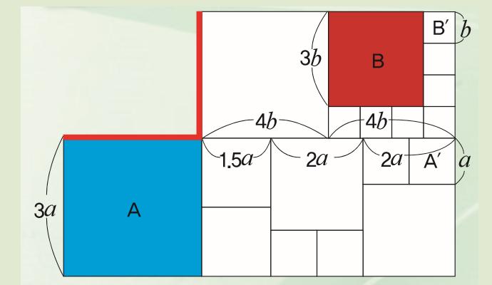 정사각형 A 윗변(빨간 선)과 90도로 만나는 다른 빨간 선의 길이가 같아 보이나요? - (주)동아사이언스 제공