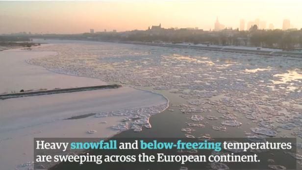 최악의 한파가 유럽을 뒤덮으면서 인명피해가 속출하고 있다. - 영국 가디언 영상캡처 제공