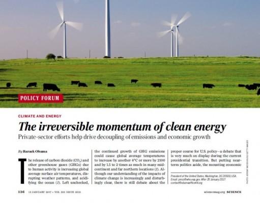 트럼프 환경정책에 대한 오바마의 경고, '사이언스'에 실리다