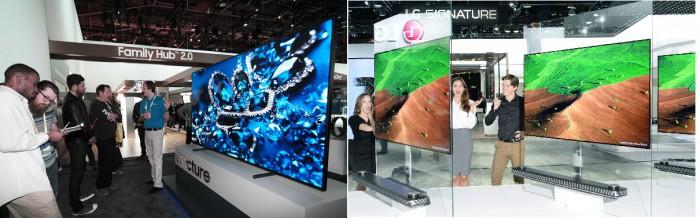 삼성전자 QLED(왼쪽)와 LG전자 시그니처 올레드TV W - 삼성전자, LG전자 제공