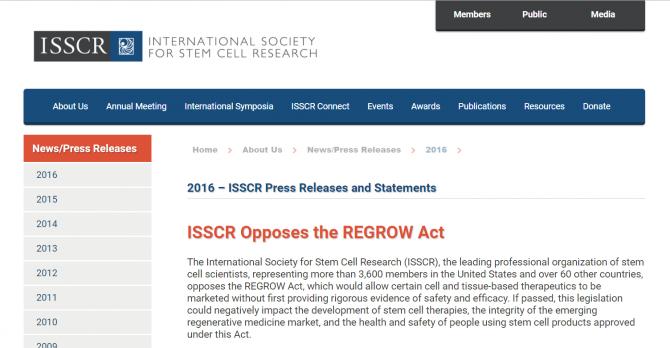 """""""국제줄기세포연구학회는 재성장법에 반대한다(ISSCR Opposes the REGROW Act)"""" - 국제줄기세포연구학회 홈페이지 갈무리 제공"""