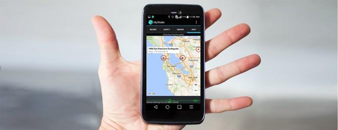 미국 버클리 캘리포니아대 지진연구소, 미국 유타대 등 공동 연구진이 개발한 지진 관측 스마트폰 앱 '마이셰이크(MyShake)'. 연구진은 마이셰이크로 첫 6개월 동안 얻은 데이터에 대한 분석 결과를 지난해 9월 국제학술지 '지오피지컬 리서치 레터스'에 발표했다. - 버클리 캘리포니아대 제공