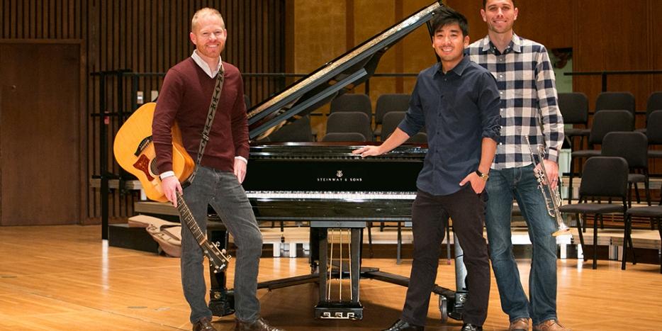 맨 왼쪽부터 '후크시오리(Hooktheory)'를 함께 운영 중인 크리스 안델슨, 리안 미야카와, 데이비드 칼튼. - ⓒBerkeley Engineering, Hooktheory 제공