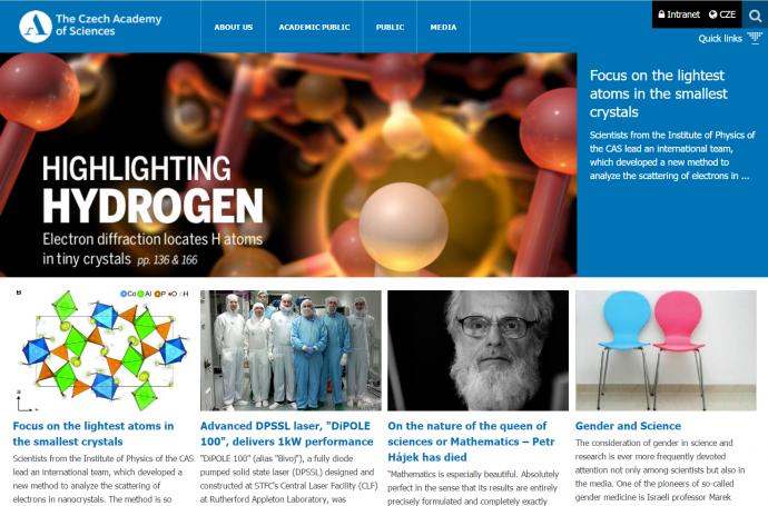 체코과학학술원이 팔라티누스 연구팀의 연구를 홈페이지 메인에 소개하고 있다.  - The Czech Academy of Sciences(http://www.avcr.cz) 제공