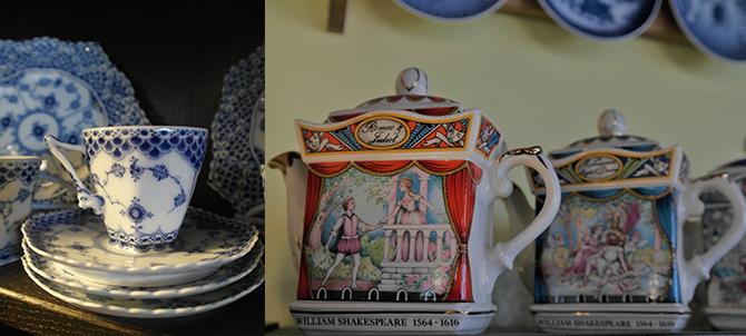 일명 '악마 커피잔'으로 불리는 덴마크 로열 코펜하겐(왼쪽). 이야기를 따라 보게 되는 영국 새들러 셰익스피어 시리즈 티팟. - 고기은 제공