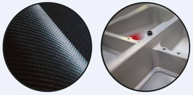 견고하면서도 철강보다 50% 이상 가벼운 탄소복합재(왼쪽)와 3D 프린터로 인쇄해 만든 로켓 엔진의 부품(오른쪽). 24시간이면 '러더퍼드' 엔진 1개를 제작하는 데 필요한 모든 부품을 인쇄할 수 있다. - 로켓랩 제공
