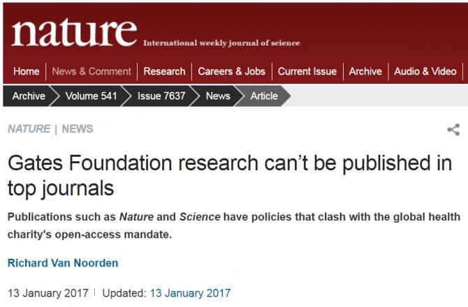 """학술지 '네이처'는 13일 게이츠 재단의 정책을 부정적으로 평가하는 기사를 냈다. 제목이 """"게이츠 재단의 연구결과는 최고의 저널에 게재될 수 없다""""이다. - 네이처 제공"""