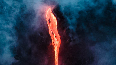 미국 하와이의 용암 폭포
