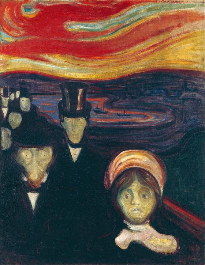 뭉크의 불안. 불안은 거의 모든 정신장애에서 관찰되는 증상이지만, 또한 생존과 적응을 위해서 반드시 필요한 감정이다. 불안은 너무 많아도, 너무 없어도 곤란하다.  - Edvard Munch (1894) 제공
