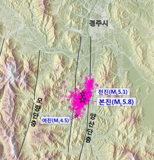 경주지진 이후 발생한 여진을 종합한 그래픽. 양산단층보다 바로 옆 '무명단층'에서 주로 지진이 일어났다는 사실을 알 수 있다. - 한국지질자원연구원 제공