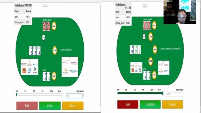 포커용 AI '리브라투스'가 인간 포커선수를 상대로 게임하고 있는 장면.  - 리버스 카지노 제공