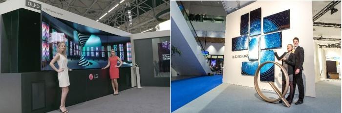 7~10일(현지시간) 네덜란드 암스테르담에서 열리는 유럽 최대 상업용 디스플레이 전시회 ISE 2017에 마련된 LG전자(왼쪽)와 삼성전자 부스. - 삼성전자, LG전자 제공