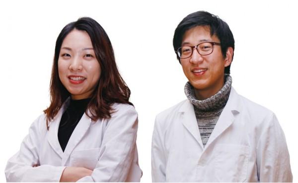 RG코리아에서 생물정보학을 담당하는 박지혜 연구원(왼쪽)과 최성민 공동대표(오른쪽) - 신수빈 기자 제공