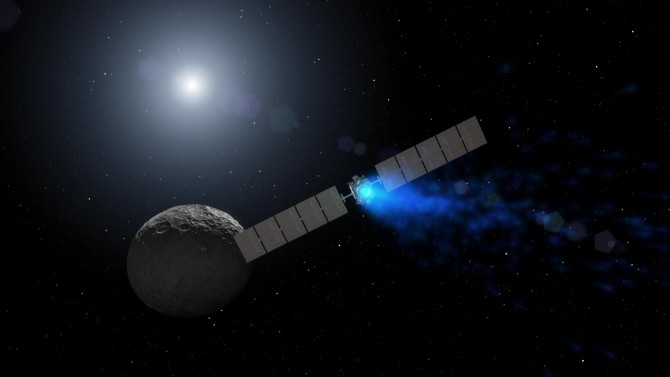 돈 탐사선이 최조 목적지인 세레스에 다가가는 장면을 그린 상상도. 돈 탐사선은 소행성대에 있는 왜행성 세레스를 궤도 운동하며 지구에서 관측할 수 없었던 정보를 수집하고 있다. - NASA 제공