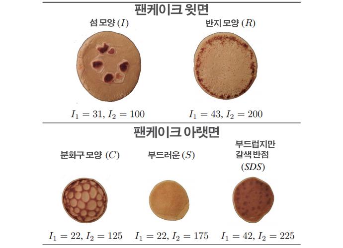 I1, I2 값에 따라 달라지는 팬케이크의 표면 모습 - Mathematics TODAY 제공
