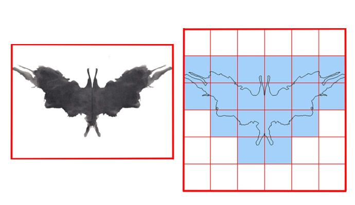 이 그림은 로르샤흐 검사에 사용하는 5번 그림. 사람들은 이 그림을 보고 박쥐, 나비, 나방과 같은 다양한 해석을 내놓는다. 연구팀은 이처럼 각 그림의 프랙탈 차원을 계산하기 위해 10가지 그림을 모두 유클리드 평면 위에 그리고 일정한 크기의 정사각형으로 쪼개 각 그림이 몇 개의 사각형 위에 그려지는지 알아냈다.. - Courtesy of Richard Taylor 제공