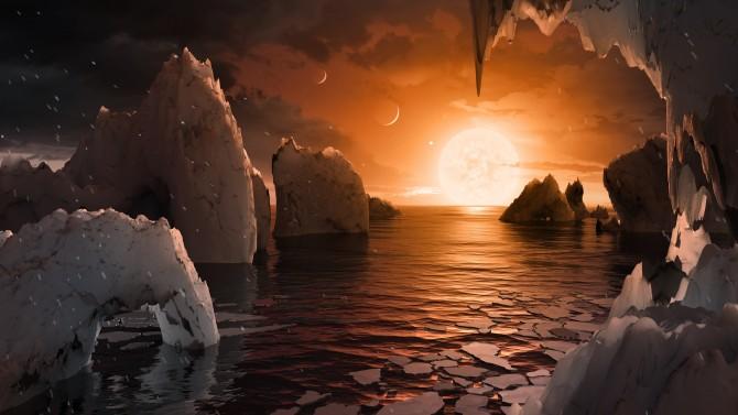 액체 상태의 물이 존재하는 지구형 행성의 상상도. - 네이처 제공