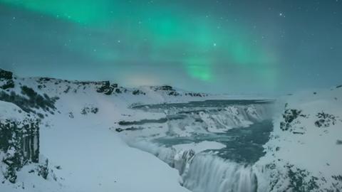 아이슬란드의 아름다운 밤 풍광