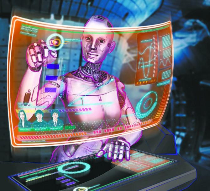 인공지능(AI) 기술이 발전하며 지금껏 인간만이 할 수 있었던 다양한 분야로 진출하고 있다. 미래에는 인간과 비슷한 능력을 가진 AI의 권리도 논쟁거리가 될 것으로 전망된다. AI 로봇이 원격 화상강의 시스템을 다루며 교사로 활동하는 모습을 그린 상상도. - 동아사이언스 자료사진 제공
