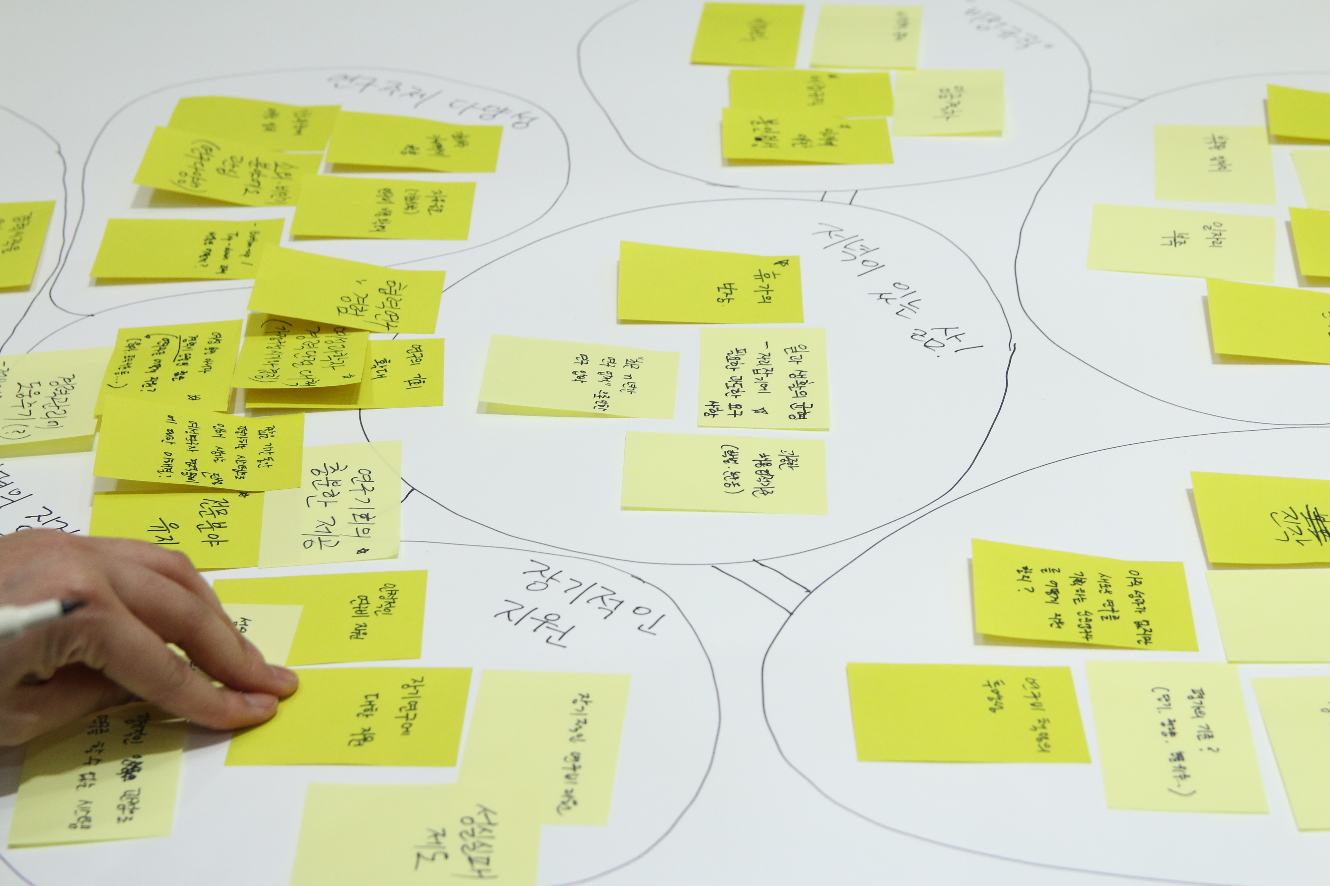 2월 25일 서울 마포구 한겨레신문사 청암홀에서 열린 타운미팅 행사에서 한 참가자가 포스트잇을 모아 분류하는 모습. - 변지민 기자 제공