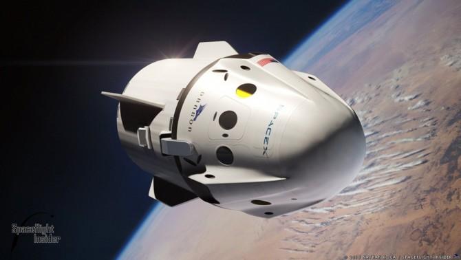 미국 우주기업 스페이스X가 개발한 유인 우주 왕복선 '크루 드래곤(Crew Dragon)'의 상상도. - 스페이스X 제공
