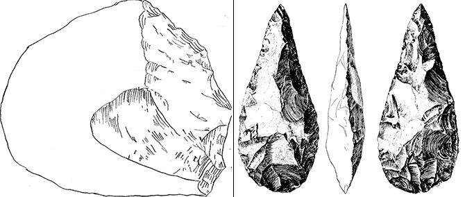 올두바이 협곡에서 발견된 올도완 석기 스케치. 찍개(chopper)로 추정된다. 투박한 모양으로 인해서, 대칭성과 정교함을 갖춘 아슐리안 석기와 비교된다. 종종 자연적으로 깨진 것인지 혹은 석기인지 구분이 쉽지 않은 경우도 있다(왼쪽). 스페인 마드리드 부근에서 발견된 아슐리안 손도끼. 양쪽 면에 오랜 시간을 들여 정교하게 제작한 흔적이 보인다(오른쪽). - Emmyanne29, 휴고 오버메이어 제공