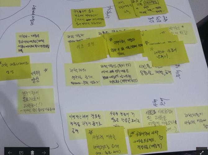 타운미팅에서 나온 의견 포스트잇 - 타운미팅 주최측 제공