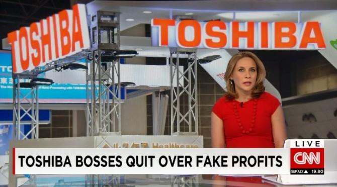 회계부정을 책임지고 도시바 CEO가 사임하는 사실을 알리는 2015년 CNN 뉴스의 한 장면 - CNN 제공